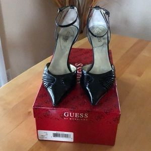 Sexy patent leather ankle strap heels.